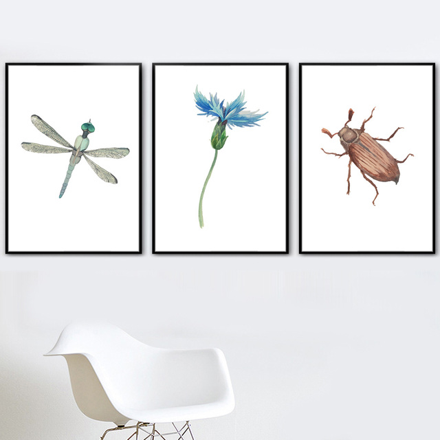 Butterfly Snail Flower Wall Art Canvas Painting  1