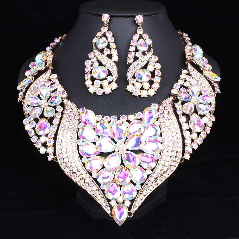 Luxuriöse Big Kristall Erklärung Halskette Ohrringe Set Gold Farbe Schmuck Sets Indische Braut Hochzeit Schmuck Frauen Zubehör