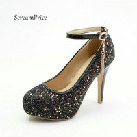 Women Ankle Strap Platform Super Thin High Heel Pumps Sexy Fashion Round Toe Buckle Bling Party Dress Shoes Black Pink Green