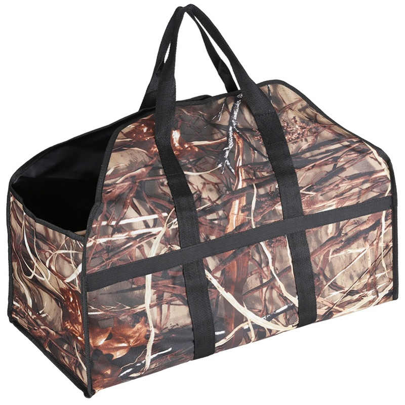 Large Capacity Oxford Fabric Firewood Wood Bag Outdoor Camping Log Carrier Camouflage Portable Bag Color Wood Bag
