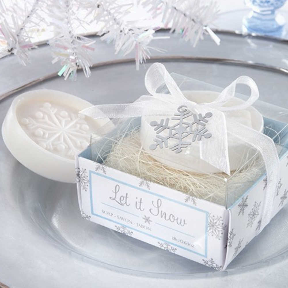 Snowflake Shaped Small Boxed Soap Handmade Baby Birth Shower Bath Soap Unique Souvenirs Scented Wedding Party Favors Home Decor