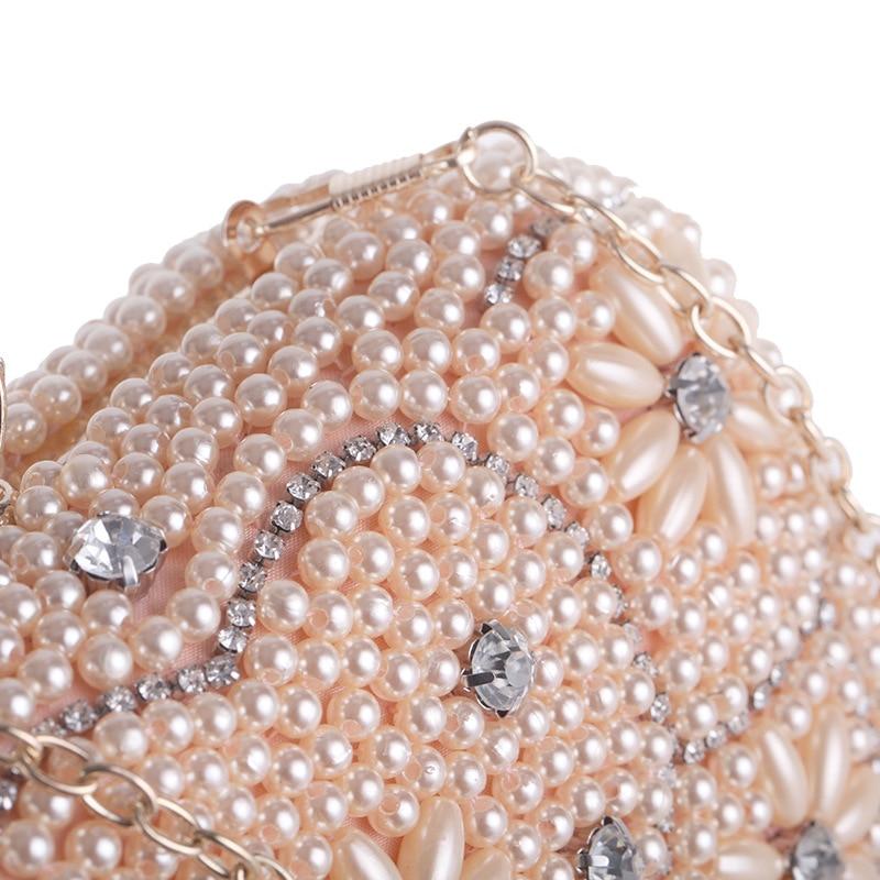 Poche Perle champagne Mariage Sac Bandoulière Mariée Mini Cristal Coeur Femmes Perles De Soirée Mode Motif Parti white D'embrayage Black Rabat À Main WwfzPqBvx