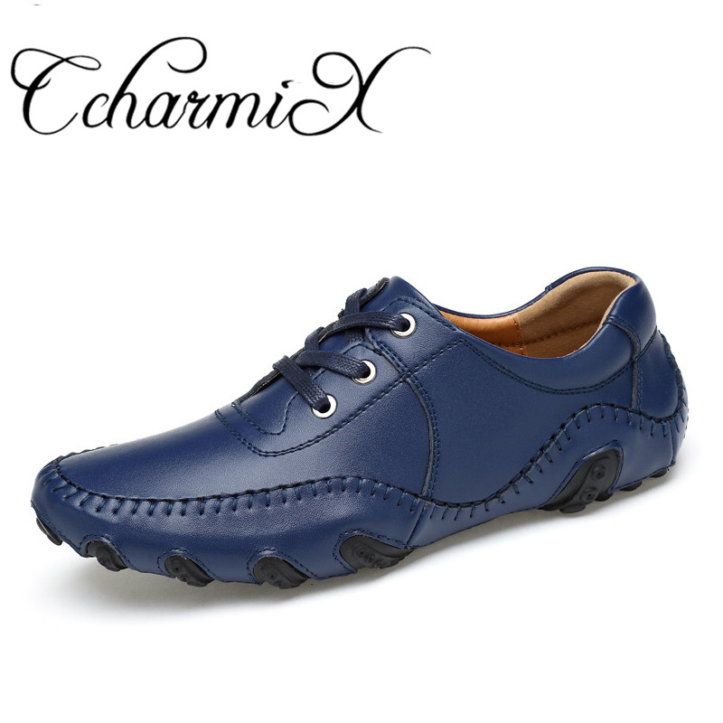 CcharmiX Mens Casual Shoes Handmade Split Leather Lace Up italian Style Blue Men Footwear Top Quality Man Driving Shoes Big Size oudiniao men shoes big size lace up comfort split leather men casual shoes handmade loafers luxury slip on mens shoes casual