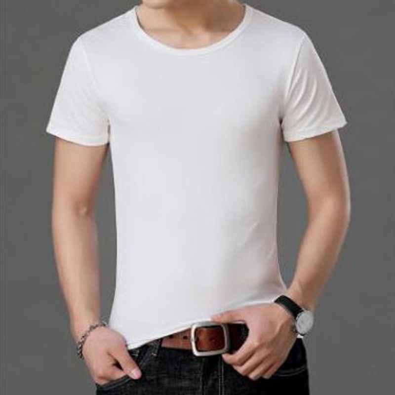 Qrxiaer 男性の夏の Tシャツシャツラウンドネック無地黒、白半袖 Tシャツトレンドカジュアル若いシャツを底シャツ
