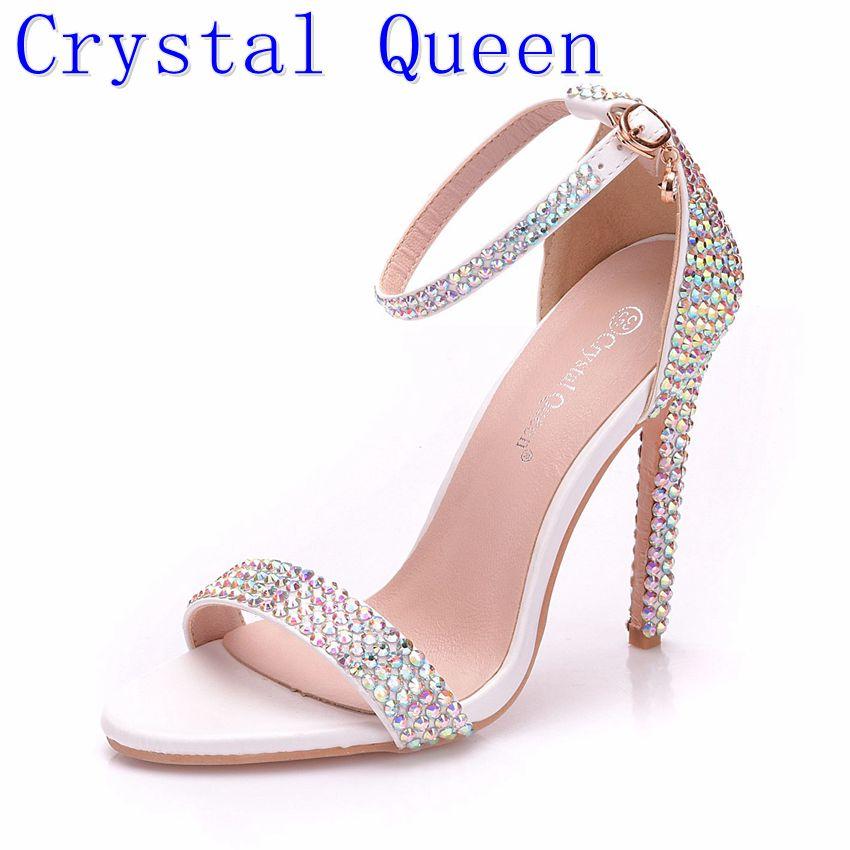 где купить Crystal Queen Sandals High Heels Ankle Wrap Gladiator Sandal Shoes Women Stiletto Heel Wedding Rhinestone Concise Sandal Shoes по лучшей цене