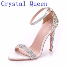 Crystal Queen Sandals High Heels Ankle Wrap Gladiator