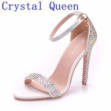 Sandales Queen à talons hauts enroulé à la cheville en cristal, chaussures gladiateur pour femmes, talon aiguille, strass, Concise, mariage