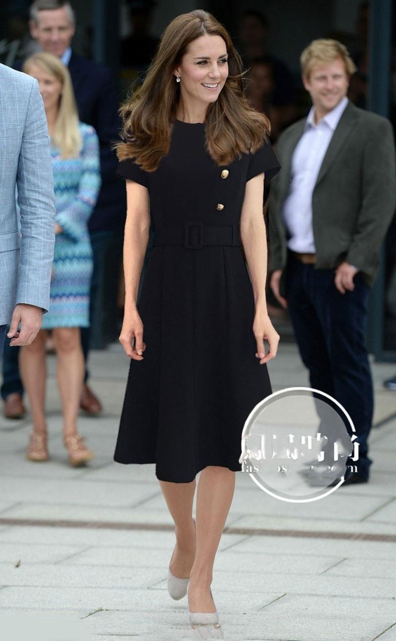 Princess Kate Middleton Dress 2019 Woman dress O Neck Short  Sleeve Buttons Mermaid Elegant Dresses Work Wear Clothes   NP0299CKDresses