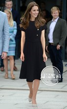 Prinses Kate Middleton Jurk 2019 Vrouw jurk O hals Korte Mouwen Knoppen Mermaid Elegante Jurken Werkkleding Kleding NP0299CK