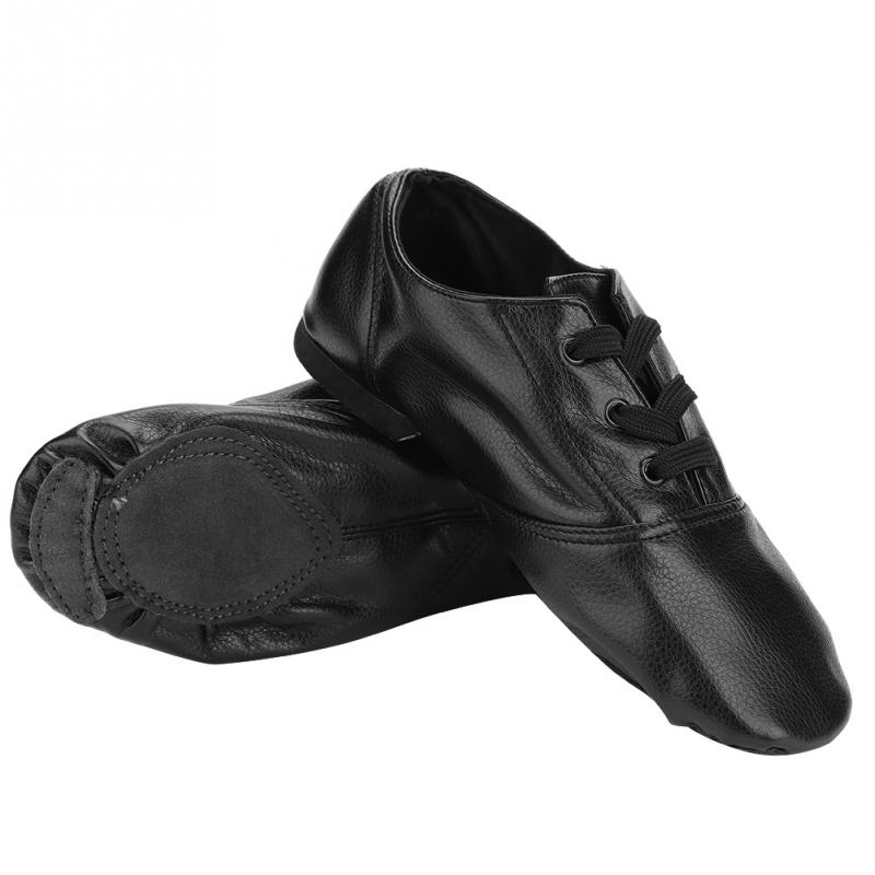 Dance-Shoes Jazz Kids Black Adult Children PU 28-To-45 Skidproof Soft-Bottom Low-Cut