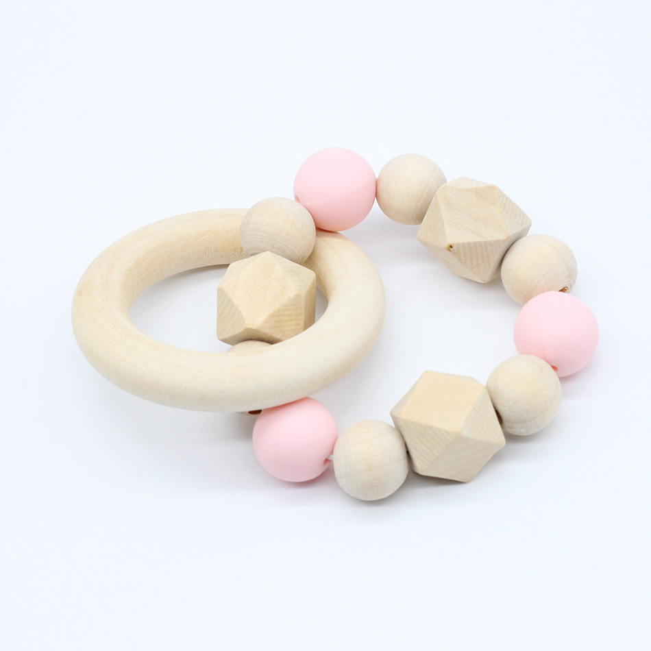 Anneau de dentition en bois naturel 1 pièce | Perles en Silicone, Bracelet de tissage manuel, jouets bio pour nourrissons, cadeau neutre, soins bébé