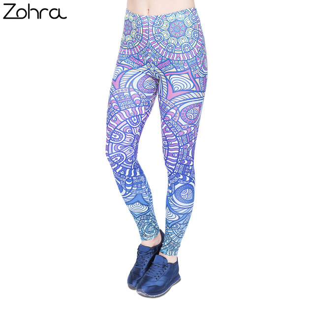 bee7637f4b Zohra Women Legging Mandala Blue Ombre Printing Fashion Bottoms Sexy High  Waist Fitness Leggings Stretch Pants for Womens