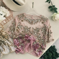 2018 Runway Lady New Fashion Embroidery Beaded Blingbling Short Sleeved shirt Women Round Neck Sequin Perspective Elegant Tops