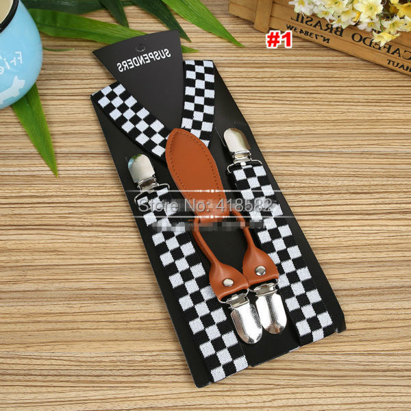 BD067--Hot Sale Black White Plaid Kids Suspenders Elastic Adjustable Baby Leather  4 Clips Braces