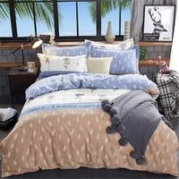 2019 New Elegant bedding set 100% cotton pastoral duvet cover+flat sheet+Pillowcase pink pineapple bed set 4pcs bird bedclothes