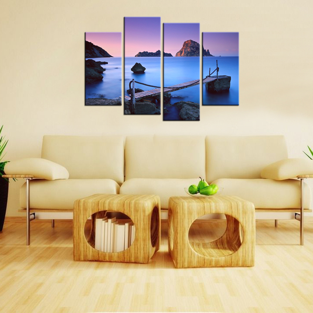Canvas Pictures HD Prints Beautiful Sunset With Bridge Seascape ...