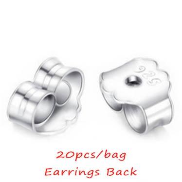 20pcs/bag 4mm 925 Sterling Silver Butterfly Earrings Back Fit Stud Earrings Clasp Stopper DIY Earring Fashion Jewelry Findings