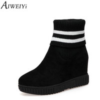 c428113858b69 AIWEIYi Ankle Boots For Women Sock Boots Black Beige Wedges Shoes Slip On  Autumn Winter Shoes