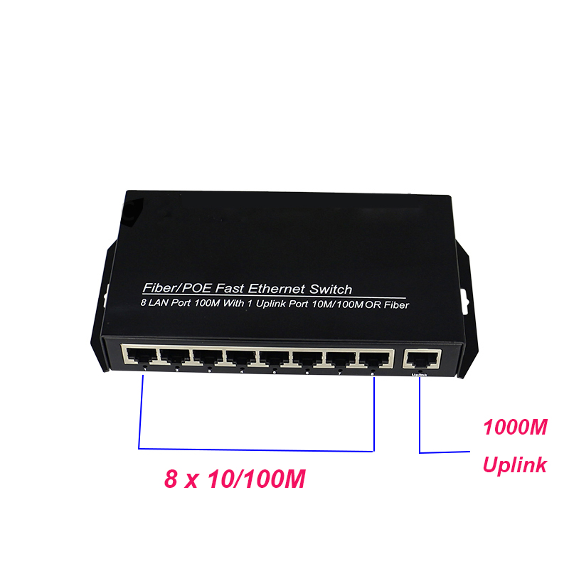 цена на ethernet 8 port switch hub rj45 networking 15W output 1080P ip cameras poe switch with 1000M uplink port