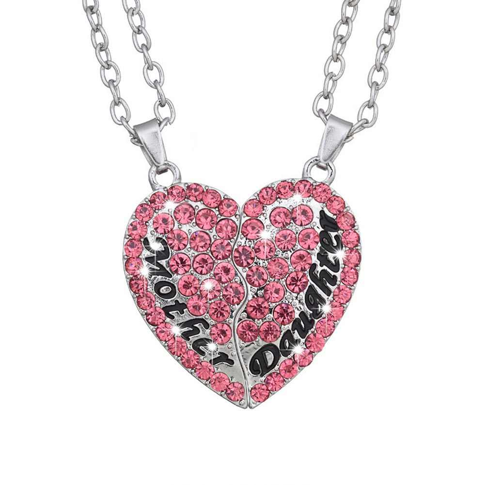 2 Parts 1 Set!!!!!! Necklace Mother And Daughter Forever Mix Color Rhinestone Crystal Heart Pendant Necklace Mother's Day Gift