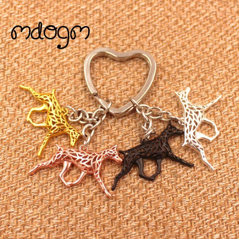 2019 Cute Doberman Dog Animal Gold Silver Plated Handbag Charm Pendant Keychain For Bag Car Women Men Key Ring Love Jewelry K022