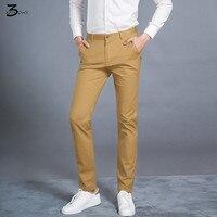 2017 Stylish Men Cotton Slim Fit Business Pants Male High Quality Pure Color Leisure Trousers Men