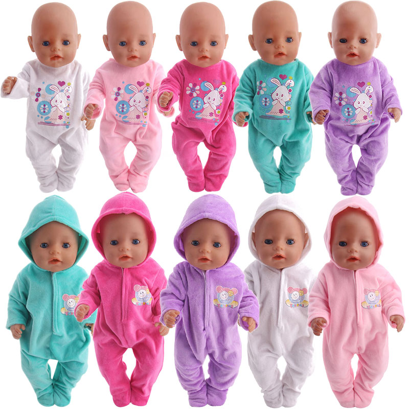 Cotton Hooded One-piece Pajamas & Christmas Suit Pajamas For 18 Inch American & 43 Cm Born Doll Generation Christmas Gifts