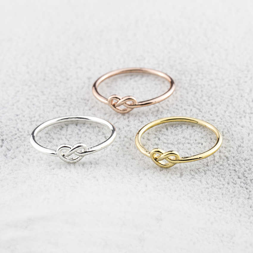 Best Gift Simple Knuckle Love Heart Knot Rings For Women Girls Promise Anillos Jewelry Rose Gold Silver Color