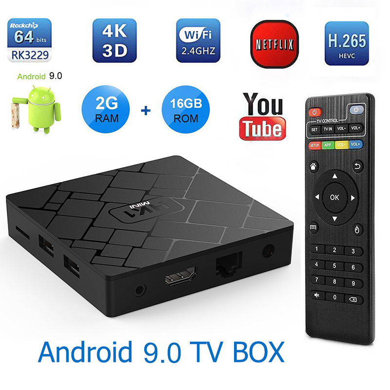 CAIXA Smart TV Android 9.0 RK3229 Hk1 2G 16G Set Top Box 4 K 1080 P 3D H.265 wi-fi Media Player Receptor de TV Play Store upgrate 8.1 OS