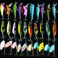 Hiaena 30 pçs/lote cor misturada/tamanho/peso spinner metal colher spinnerbaits crankbait iscas artificiais duras isca de pesca kits|artificial lures|fishing lure|lure kit -