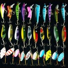 Hyaena 30 adet/grup Karışık Renk/Boyut/Ağırlık Spinner Metal Kaşık Spinnerbaits CrankBait Sert Yapay Lures Balıkçılık Cazibesi Kitleri