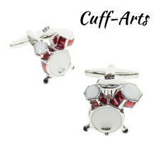 Cuffarts Red Drum Kit Cufflinks Fantastic Cuff Links Novelty Pair Of Cufflinks 2018 Cufflinks For Men Jewelry C10008 pair of chic solid color musical note shape alloy cufflinks for men