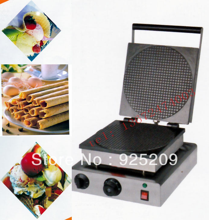 Free shipping Electric Ice Cream Cone Maker Palacinka maker Cone Baking machine crepe making machine egg roll machine chinese single round pan rolled ice cream machine fried ice cream roll machine with 6 barrels