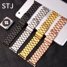 Stj 브랜드 스테인레스 스틸 스트랩 애플 시계 밴드 시리즈 5/4/3/2/1 38mm 42mm 금속 시계 밴드 iwatch 시리즈 4 40mm 44mm