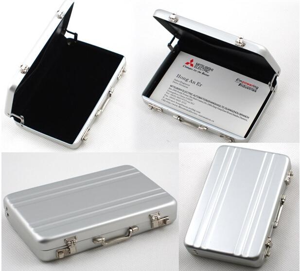 Creative Mini Portable Desk Metal Suitcase Business ID ...