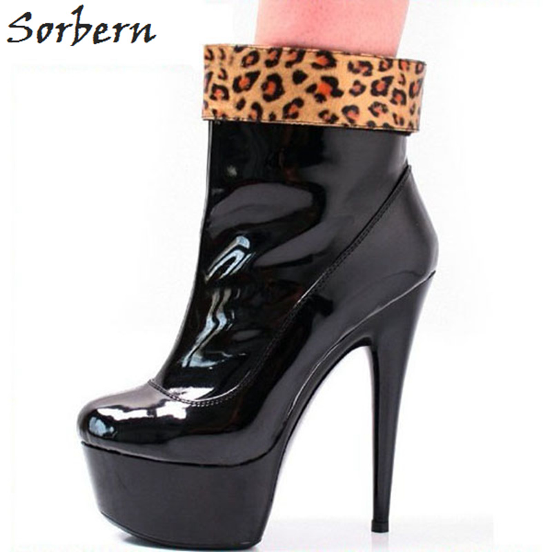 Sorbern Leopard Ankle Boots For Women 15Cm High Heels Boots High Platform Shoes Fashion Womens Ankle Boots High Quality 2018 стоимость