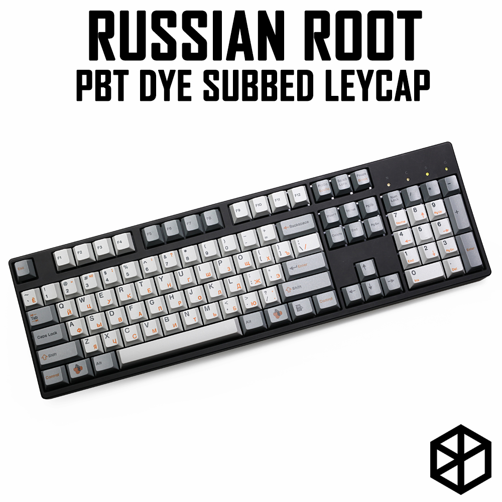 Russian Root Letter Cherry profile Dye Sub Keycap Set thick PBT for keyboard gh60 xd60 xd84