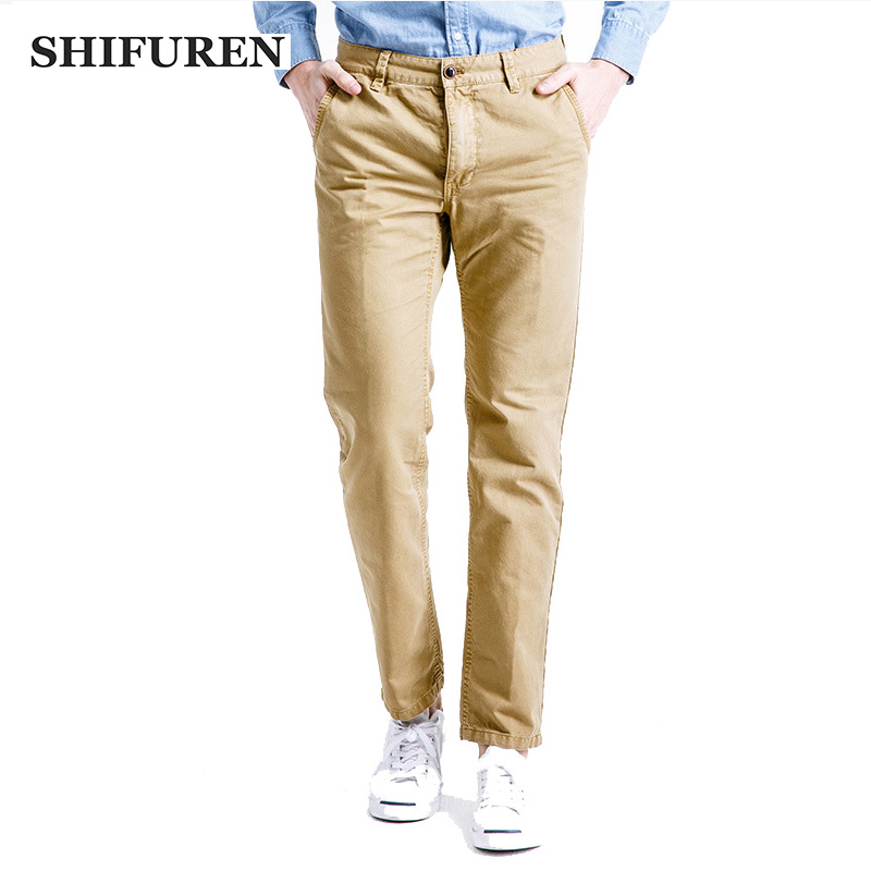 SHIFUREN Causal Cargo Pants Men Cotton Baggy Trousers Full Length Multi Pocket Overalls Loose Fit Male Workwear Working Clothes