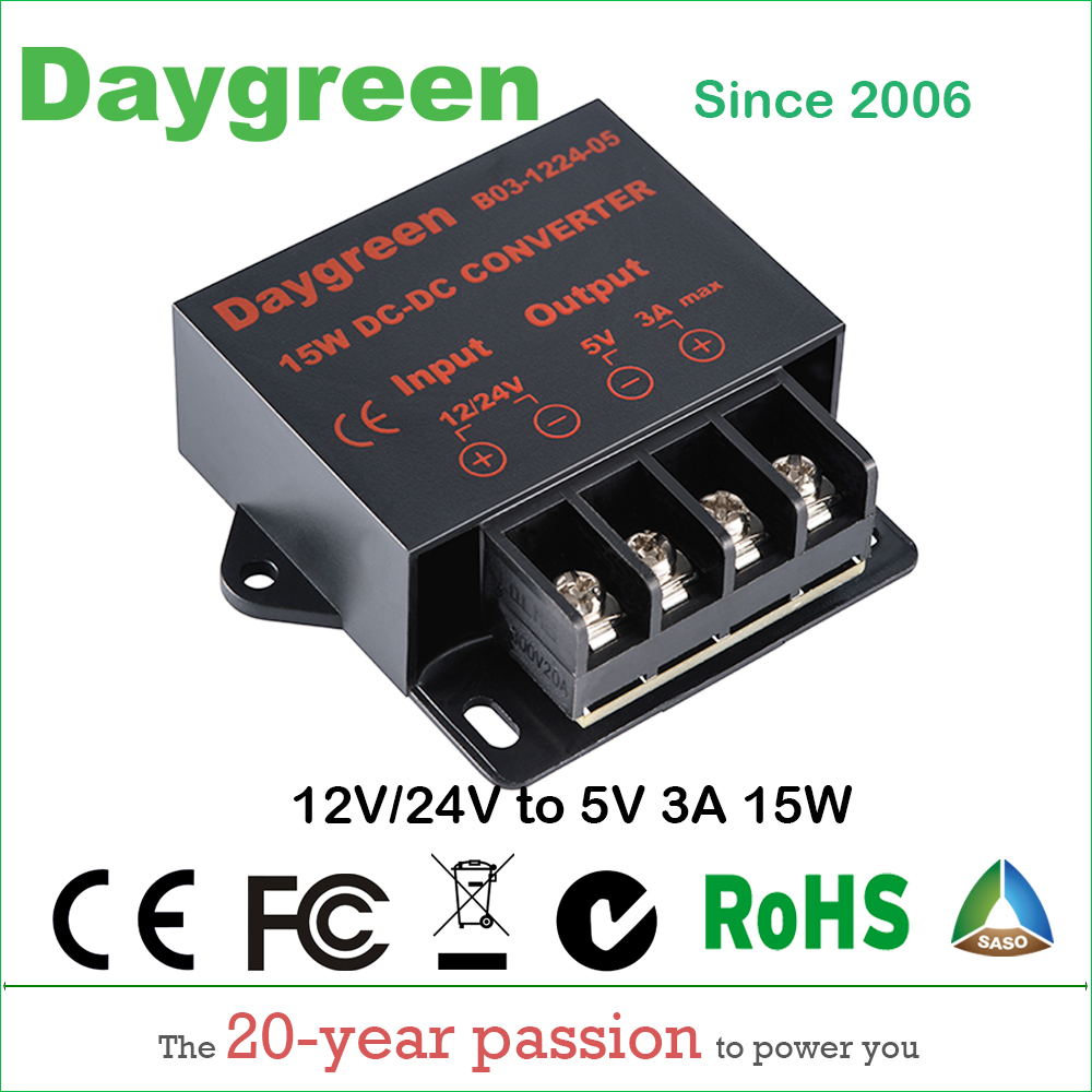 12v 24v To 5v 3a 15w Dc Converter Regulator Car Step Down Reducer Circuit Daygreen Ce Rohs Certificated In Inverters Converters From Home Improvement On