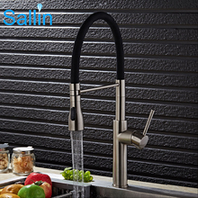 Luxury Spring Pull Down Kitchen Faucet Brushed Nickel Water Brass Made Spray Shower Head 3 Colors