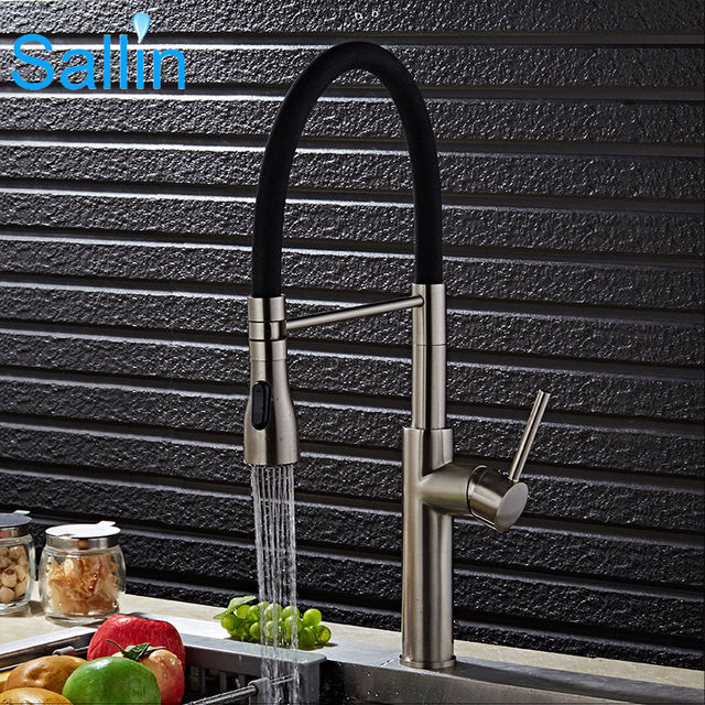 Luxury Spring Pull Down Kitchen Faucet Brushed Nickel Kitchen ...
