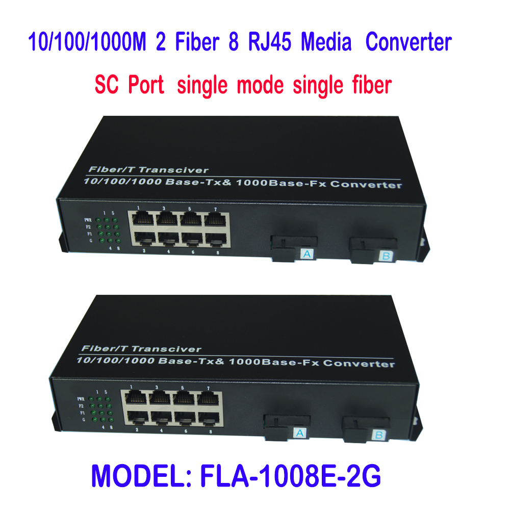 New Single Fiber Single mode Optical Transceiver 10/100M/1000Mbps SC Port 20KM 2CH Fiber 8ch RJ45 Fiber Optical Media Converter  new new packard j9100b c j9099b c sfp 15km fast single fiber bidirectional optical module bidi