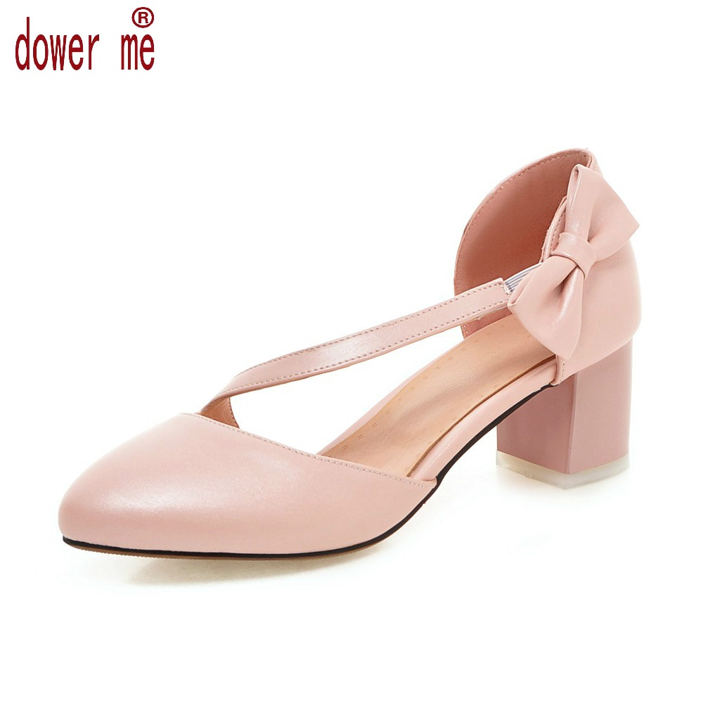 New Fashion Arrival Summer Women Pumps Pu Leather Pointed Toe Bowknot Slip on Strap Chunky Heels Ladies Sweet Shoes Plus Size:43 new 2017 spring summer women shoes pointed toe high quality brand fashion womens flats ladies plus size 41 sweet flock t179