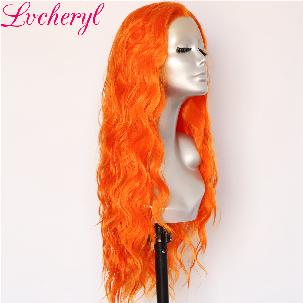 Lvcheryl Orange Color Hair Wigs Trendy Natural Long Water Wave Hair Party Wigs Heat Resistant Hair