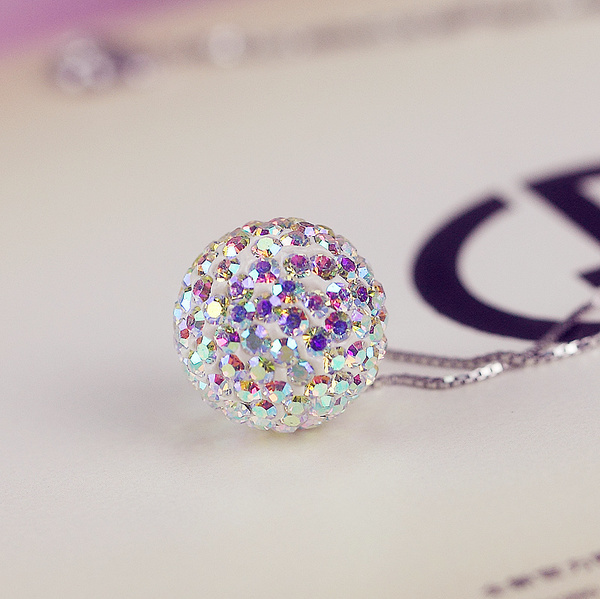 925 Silver Necklace Pendant Bead female real Korean fashion accessories chain cz diamond ball pendant simple clavicle