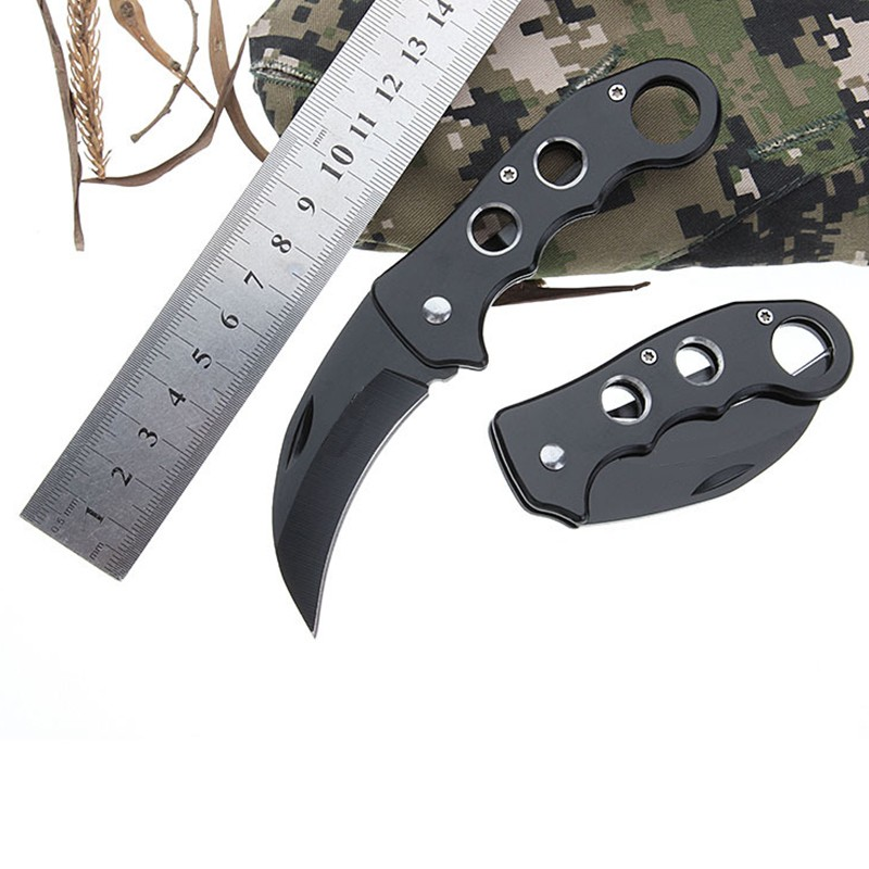 Mini Portable Knife Fold Camping Tactical Folding Ring Outdoor Tools Hunting Stainless Key Survival knife in Self Defense Supplies from Security Protection