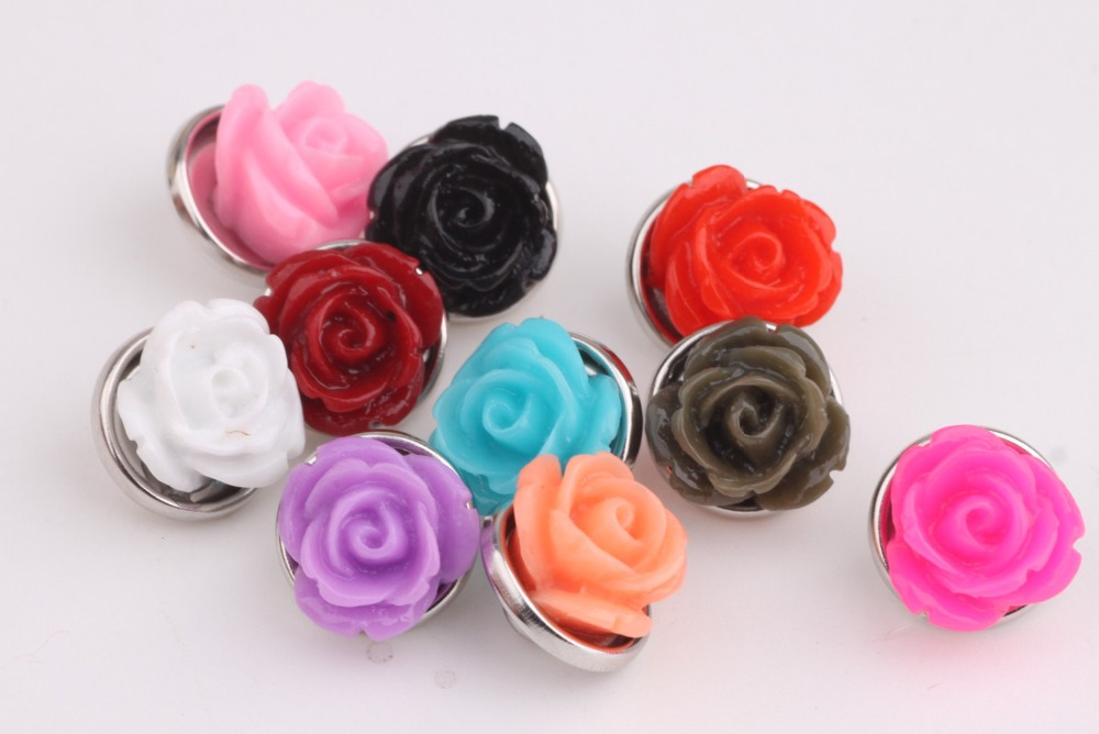 High Quality Mix colors 12mm Resin Flower Shape Ginger Snap Button Metal Button Charm Findings For Snap Button Jewelry Y680 image