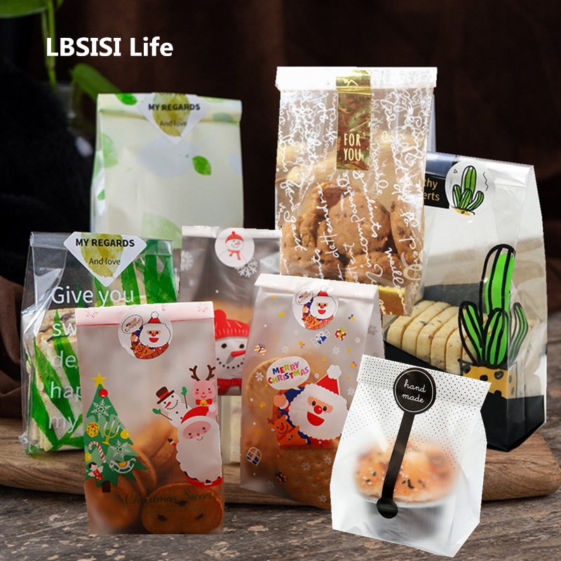 LBSISI Life 100pcs Cookie Bag Candy Bags Self Stand Christmas Party Decoration Machine Sealing Food Bag