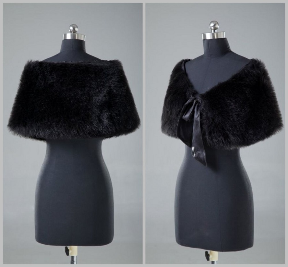 High Quality ! Faux Fur Wedding Bolero Jacket Shurg Shawl