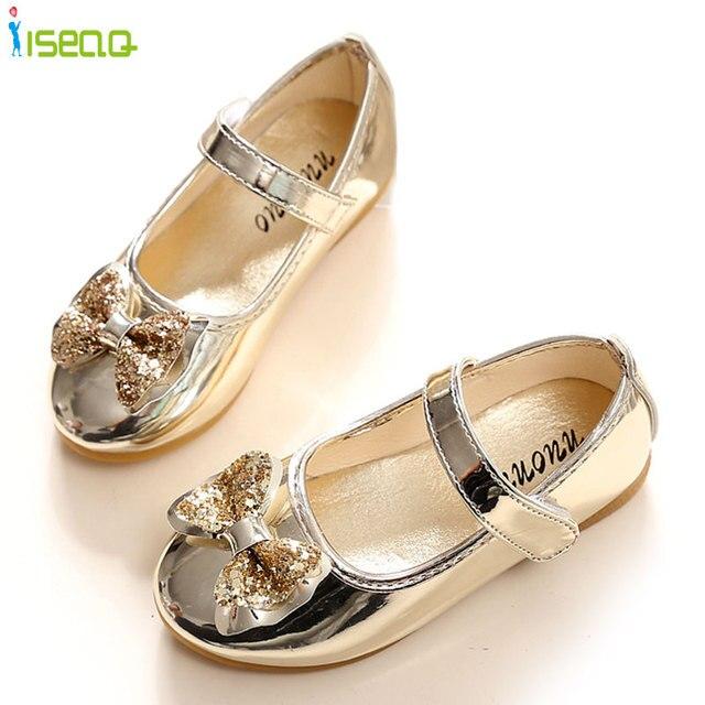 Enfants 2016 Детей Принцесса кожаные shoes Дети Девочек Свадебные Shoes Высокие Каблуки Платье Shoes Party Shoes Для Девочек 1-8Y